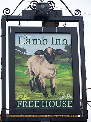 English: Sign for the Lamb Inn, Axminster The ...