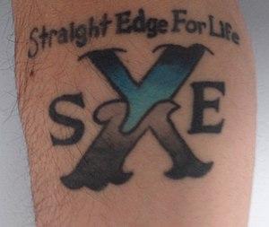 English: Photograph of a Straight Edge Tattoo