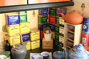 A bunch of empty tea box at adulau's home.
