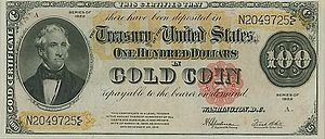 A 1922 hundred-dollar Gold Certificate