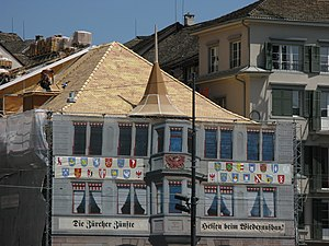 Limmatquai, Zürich: reconstruction of the Zunf...