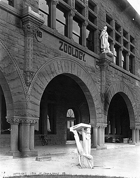Louis Agassizs statue fell from the Zoology Building at Stanford University during the 1906 Earthquake.  After the 1906 San Francisco earthquake, Stanford President David Starr Jordan wrote, Somebody—Dr. Angell, perhaps—remarked that Agassiz was great in the abstract but not in the concrete.  Photo by Frank Davey.  Wikimedia