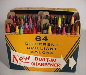 The first version of the Crayola No.64 box (open)