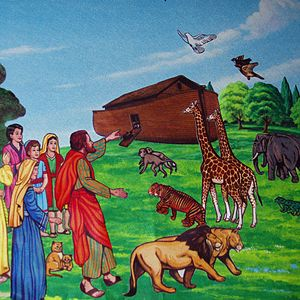 English: Scene from the story aboat Noah, illu...