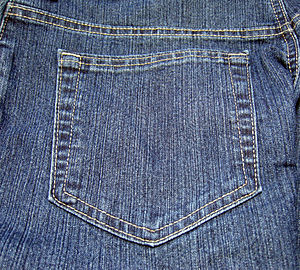 The back pocket on a pair of jeans.
