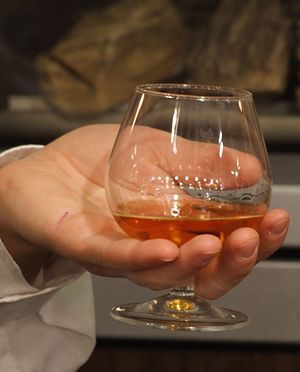 Cognac poured into its usual stemware
