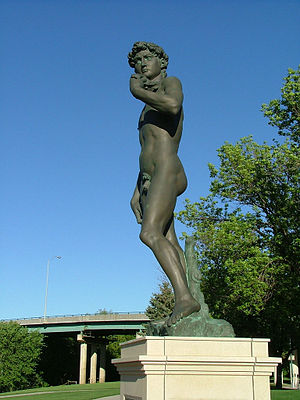 Replica of Michelangelo's David in Fawick Park
