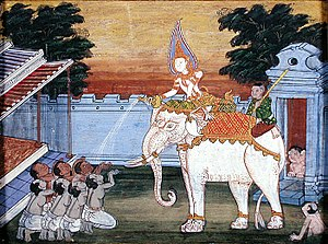 A depiction of a white elephant in 19th centur...