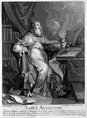 Saint Augustine of Hippo. Line engraving by N. Dossier after Wellcome L0004125.jpg