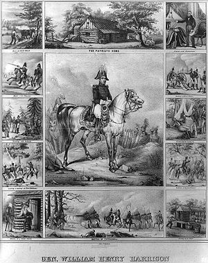 English: Lithograph of Gen. William Henry Harr...