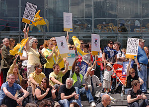 English: NUT ATL UCU PCS strike rally outside ...
