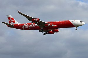 English: Air Asia X Airbus A340-300 (9M-XAB) a...