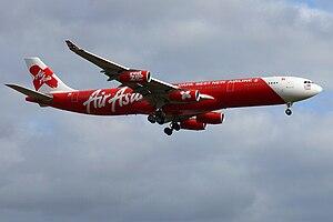 English: Air Asia X Airbus A340-300 (9M-XAB) a...