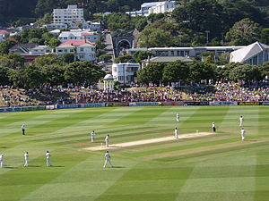 English: New Zealand v England Test match in p...