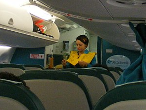 English: A female flight attendant of Air Dolo...