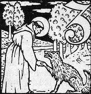 Saint Francis and the Wolf make a plan for peace