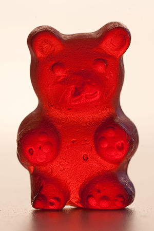 Detailed view of a red gummi bear.