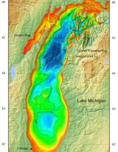 Lake michigan bathymetric map the deepest point is marked with also wikipedia rh enpedia