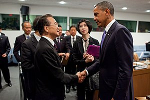 Obama meets with Wen Jiabao and members of the...