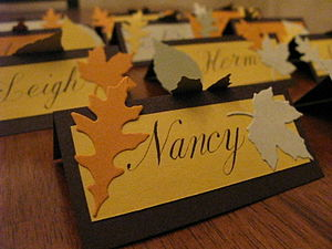 Place cards for Thanksgiving dinner 2008.