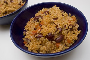 Red beans and rice, prepared with smoked spani...