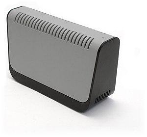 A Seagate removable USB hard disk enclosure.