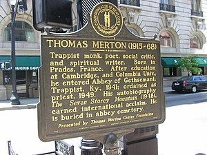 Marker commemorating Thomas Merton in Downtown...