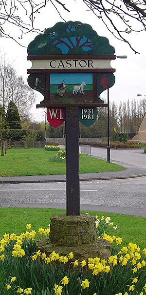 Signpost in Castor, Cambridgeshire