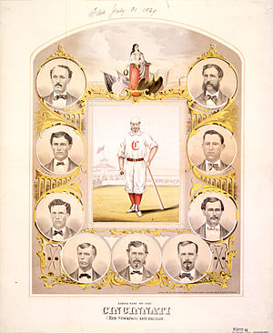 Color lithograph of the 1869 Cincinnati Red St...