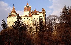 Bran Castle, the fabled home of Dracula, overl...