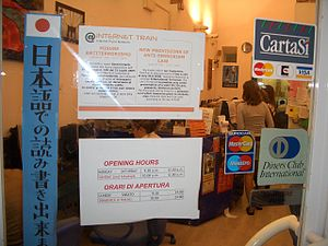 The entrance to an internet cafe in Florence, ...