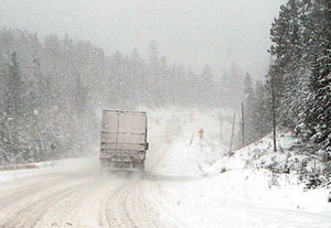 Winter snowstorm on Highway 11, near Temagami,...