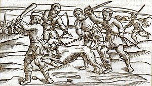 English: A woodcut from the Middle Ages showin...
