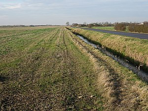 English: Stubble field, Grunty fen Flat arable...