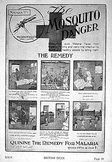 "Advertisement entitled ""The Mosquito Danger"". Includes 6 panel cartoon: #1 breadwinner has malaria, family starving; #2 wife selling ornaments; #3 doctor administers quinine; #4 patient recovers; #5 doctor indicating that quinine can be obtained from post office if needed again; #6 man who refused quinine, dead on stretcher."