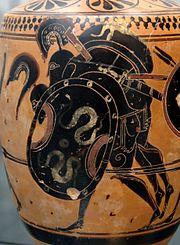 Ajax carries off the body of Achilles: Attic black-figure lekythos, ca. 510 BCE, from Sicily (Staatliche Antikensammlungen, Munich