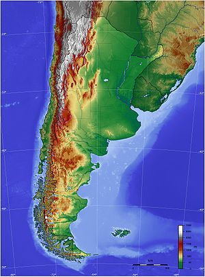 Map of Argentina with it's terrain levels