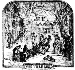 English: hauling of the yule log