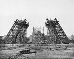December 7, 1887: Construction of the legs with scaffolding. (Eiffel Tower)