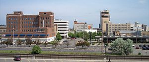 A portion of downtown Fargo, North Dakota as v...
