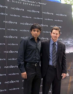 M. Night Shyamalan (left) and Mark Wahlberg (r...