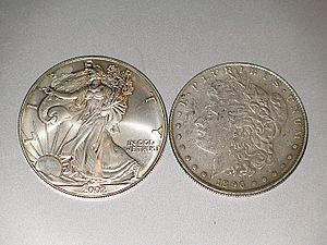 Picture of a genuine American Silver Eagle and...