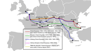 Historical map of the Orient-Express with vari...