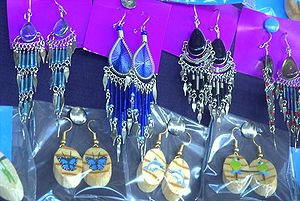 English: Ornate earrings from Costa Rica