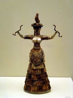 English: Figurine of the Snake Goddess. Archae...
