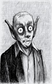 Ilustración moderna de un vampiro