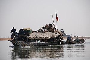 Watertaxi/bus near Mopti, Mali, on the river N...