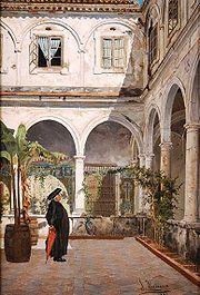 Salvador Viniegra, Patio del Convento de San Francisco de Cádiz (detalle), 1881. Museo de Bellas Artes de Cádiz (España).