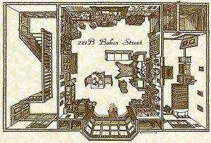 Overhead floor plan of Holmes's lodgings