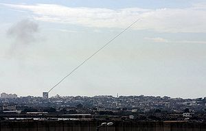A Qassam rocket fired from a civilian area in ...